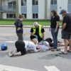 Scooters collide at intersection
